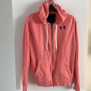 Under armour coral pink zipper hoodie S